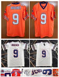 Camisetas de fútbol auténticas online-Barato Waterboy Película jerseys # 9 Bobby Boucher jerseys Naranja Blanco Azul auténtico cosido Fútbol insignias del bordado de calidad superior!