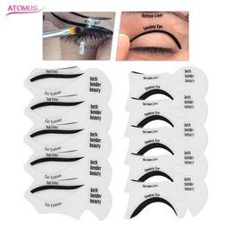 eyeliner guide Promotion ATOME 10 Pcs Nouveau DIY Réutilisable Eyeliner Stencil Modèle Carte Outils Eye-Liner Accessoires Moldels Guide de Dessin Style Mise En Forme