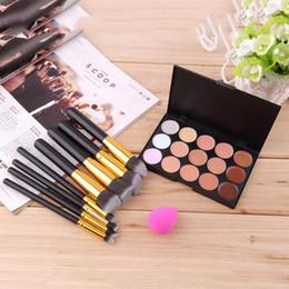 2019 paleta 15 piezas Concealer Palette 15 Pcs Color Add 8 Pcs Kit de pinceles de maquillaje Esponja Puff Maquillaje Contour Palette Fashion paleta 15 piezas baratos