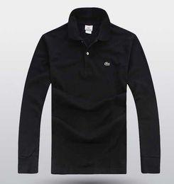 Manica lunga in polo online-Maglietta del progettista degli uomini 2019 per la camicia del ricamo degli uomini Maglietta di polo hip-hop manica lunga del cotone degli abiti dell'abito Tops