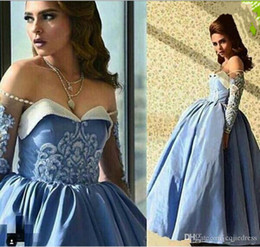 ankle length taffeta evening dress Promo Codes - 2019 New Blue Prom Dresses Ball Gown Off the Shoulder Beaded Sweetheart Neckline Illusion Long Sleeves Ankle Length Taffeta Evening Gowns