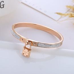 pulseira de bloqueio de ouro rosa Desconto Nova chegada designer de bloqueio pulseira strass titanium aço mulheres pulseiras de ouro rosa pulseiras de luxo moda jóias criativas