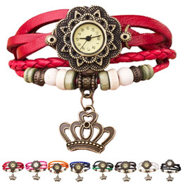 2019 envolver alrededor de las mujeres relojes Nueva Moda Mujeres Cuarzo Tejido Alrededor de la Corona Reloj de Pulsera de Dama Wrap Reloj Retro Relogio Feminino Montre Femme rebajas envolver alrededor de las mujeres relojes
