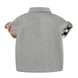 Camisa polo a xadrez on-line-Vender Hot Grey Bebés Meninos camisetas Comfort Cotton Polo Kids Clothing Moda Plaid Summer manga curta bebê T-shirt