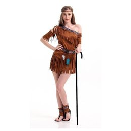 Deutschland Zubehör Cosplay Kostüme Halloween Kostüme Für Frauen Native Kostüm Ancient American Indians Hottie Kostüm Kostüm Savage Dress ... cheap native american women Versorgung