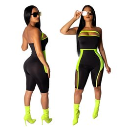 Coupe de fil en Ligne-Sexy Cut Out Net fil manches Fluorescence Skinny Romper Mesh Élégant Patchwork One Piece court Jumpsuit Salopette