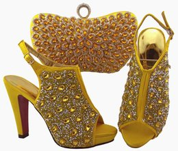 wedges bag set Coupons - Most popular yellow women pumps and bag set with colorful crystal decoration african shoes match handbag for dress QSL005,heel 12cm