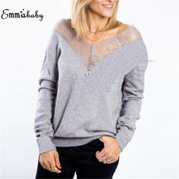 2019 дамы от плеча свитера Women's Ladies Open Front Long Sleeve Knitted Lace Loose Sweater Long Sleeve Knit Outwear Off Shoulder V-neck Tee Topss дешево дамы от плеча свитера