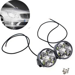 Faróis de neblina on-line-2x 4 LED Rodada DRL Daytime Running Lamps Condução Auto Car Fog Luz Dropshipping 2019 Arival NOVO Hot Sale 115