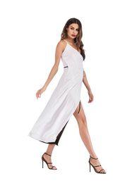 Canada Robe de femme d'été noir blanc sans manches Contraste de couleur dentelle Split Sling Dame élégante imprimée jupe taille naturelle Casual Loose Long robes Offre