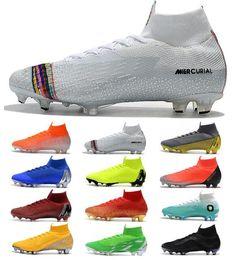 Argentina Hombres Mujeres Niños Mercurial Superfly VI 360 Elite FG KJ 6 XII 12 Zapatos de fútbol CR7 Ronaldo Neymar High Hombre Zapatos de fútbol Niños Botas de fútbol Suministro