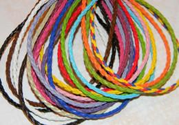 colares variados Desconto 100 peças / lote 3mm 17-19 polegada Ajustável cor sortida Faux trançado colar de couro cordão jóias
