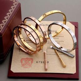 2019 bola de cristal european bangle 2019 hot Moda New rose ouro 316L Com diamante pulseira de aço inoxidável parafuso bracelete com chave de fenda e parafusos de caixa nunca perder