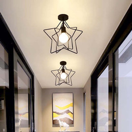 dessins de cuisine cool Promotion E27 Vintage Plafonniers Golden Loft Led Plafond Lampe Forme Géométrique Fer Cage Salon Chambre Maison Led