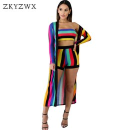 a39dcbff5ab ZKYZWX Striped 3 Piece Set Women Long Cloak+Crop Top+Biker Shorts Beach  Suit Sexy Club Outfits 2019 Summer Clothes Matching Sets beach outfits for  sale