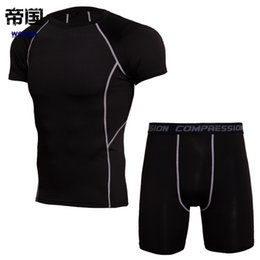 mma compression shorts Coupons - Camo Compression T-shirt Shorts Set Men Sports Body-fitting Running Jogging Training Exercise MMA Yoga Quick Dry Workout Trends Sportswear