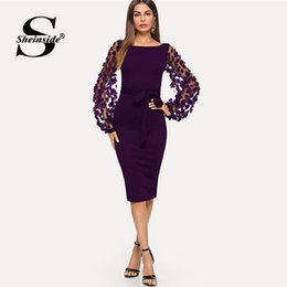 1e0e7dd65c9a Sheinside Purple Elegant Bodycon Dresses For Woman Party Dress Flower  Applique Mesh Sleeve Form Fitting Women Midi Dress J190509