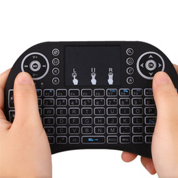 Drahtlose bluetooth maustastatur für android online-Von hinten beleuchtete i8 mini drahtloser Tastatur 2,4GHz Französisch Sprache Air Mouse Touchpad Normalen I8 Fernbedienung für Android TV Box