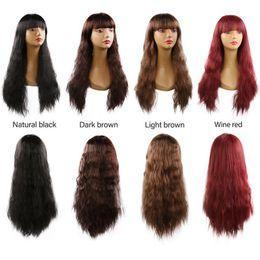 Parrucche lunghe ondulate ricce cosplay per le donne signore parrucca sintetica nera piena capelli castani naturali con frangia dritto cheap long wavy hair bangs da bandiere lunghe ondulate fornitori