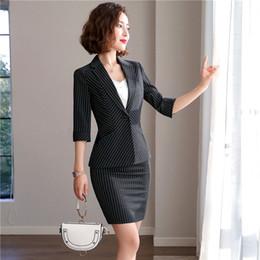 Chaquetas formales para mujer online-Moda mujer raya Blazer mujeres traje de falda informal para mujer solo botón Chaqueta delgada femenina Top y traje de falda damas conjunto de estilo coreano