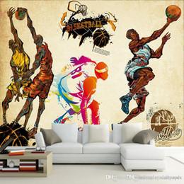 Canada Personnalisé 3D stéréo sport papier peint gym yoga stade de basketball terrain de jeu papier peint murale pour salon chambre décor cheap wallpapers basketball Offre