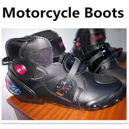 botas moteras de moto Rebajas Ventas calientes Las botas de motocicleta más nuevas Pro biker SPEED Moto Racing Motocross Moto Zapatos A9003 Negro / Blanco / Rojo tamaño
