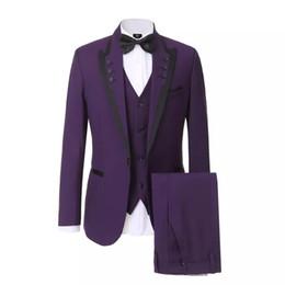 gilet viola Sconti New Purple Slim Fit Uomo Abiti da sposa Smoking dello sposo 3 pezzi (Giacca + Pantaloni + Gilet) Abiti da sposo Best Man Prom Wear Blazer 369