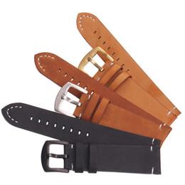 Correas de reloj de cuero genuino italiano Vintage Negro Marrón Oscuro Hombres 18 20 22mm Correa de Reloj Suave Correa de Metal Pin Hebilla Accesorios desde fabricantes