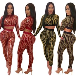 7737ed8c03d 2019 New Selling Two Pieces Sequins Fabric Striped Pattern Top and Pants  Fashion Party Outfits Long Sleeves Short T Shirt Pants Suits