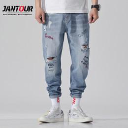 4d830743d5cb6c Loch Männer Pluderhosen marke 2019 Jeans Freizeithosen Männer Jogger Washed  Tapered Baggy Loose fit Herrenbekleidung Pure Retro Blue