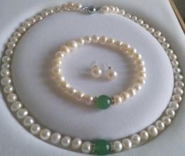Akoya collar de perlas pendientes conjunto online-Joyería de lujo Noble Blanco Natural Akoya Perla Verde Pulsera Collar Pendientes Conjunto de joyas envío gratis