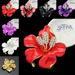 Gold Kristall Blume Broschen Pins Corsage Emaille Diamant Boutonniere Stick Corsage Hochzeit Brosche für Frauen Männer Modeschmuck A0266 von Fabrikanten