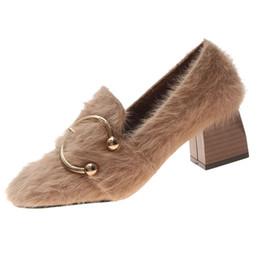 Chaussures habillées pour femmes Escarpins Printemps Eté Fashion Lady Rétro à talons hauts Boucle de ceinture Bout rond Garder la racine chaude Un seul Mocassins ? partir de fabricateur