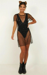 2020 swimwear puro Sheer Sexy Bikini Cover Up Beachwear paillettes Sparky Mesh Dress See Through Stelle Bathing Suit Swimwear Swimsuit swimwear puro economici
