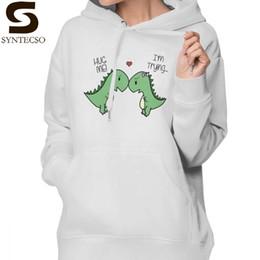 детские толстовки Скидка Hug Me Hoodie с капюшоном Dino Love Hug Me Hoodies Модные толстовки с принтом Женская уличная одежда Хлопок Серый XXL Пуловер с длинным рукавом с капюшоном