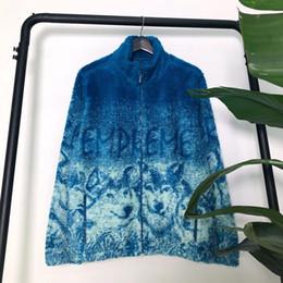 lana de lobo Rebajas 19FW insignia de la caja del lobo paño grueso y suave de la chaqueta de la moda Hombres Mujeres Abrigos Moda Highstreet ropa de invierno al aire libre S-XL