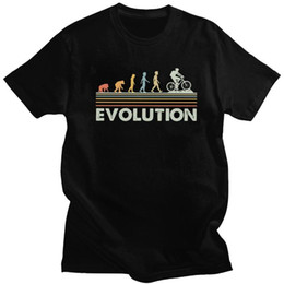T do motociclista on-line-Engraçado Evolução do Mountain bike T Shirt Men 100% Algodão MTB Biker ciclista T Top manga curta Biking Cycling T-shirt Casual presente