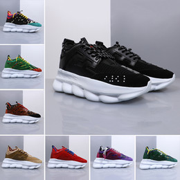 china de diamantes negros Rebajas versace Brand ACE Black white red Chainz Chain Reaction casual shoes Fashion Luxury designer trainer Lightweight link-embossed sole sports sneakers