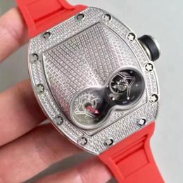 orologi in titanio Sconti Luxury Design Oversize Mans Classic Orologio da polso Diamanti in titanio Viti Case Tourbillon automatico cinturino in caucciù rosso Orologi da uomo