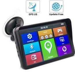 автоматический радио gps телевизор цифровой Скидка Новый 9-дюймовый автомобильный грузовик GPS-навигатор емкостный экран для грузовых автомобилей MTK 256M + 8GB FM Bluetooth AVIN солнцезащитный козырек ЕС США AU