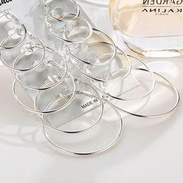 einfache silberne schmucksets Rabatt Neue 6 Paare / sätze Creolen Gold Silber Kleine große Große Kreis Runde Ohrring Set für Frauen Einfache Ohrclip 2019 Modeschmuck