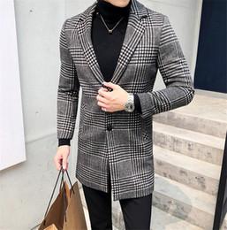2020 casaco xadrez em lã mais tamanho Mens Designer Casacos de inverno Plaid Pattern Plus Size Negócios Cardigan misturas de lã Coats Manteaux Pour Hommes casaco xadrez em lã mais tamanho barato