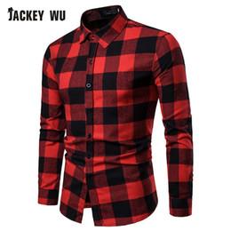 JACKEYWU Camisas Xadrez Homens 2019 Marca de Moda de Manga Longa Slim Fit Camisas Casuais 100% Algodão Macio Camisa Masculin Vestuário de Fornecedores de camisa térmica vermelha
