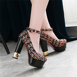 weiße stoffpumpen Rabatt Fashion Compound Stoff Frau Kleid Schuhe High Chunky Square Heel Plateau Pumps Weiß Schwarz Casual Party Club Lady