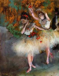 2019 impressionismo pintura a óleo Edgar Degas Pintados À Mão de Alta Qualidade HD Impressão impressionismo Arte Pintura A Óleo Dois Dançarinos em um Estágio Na Parede Da Lona de Arte Em Casa Escritório Deco impressionismo pintura a óleo barato