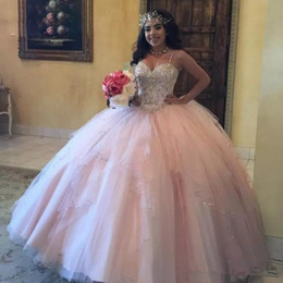 d4baa1c37fb Light Pink Ball Gown Quinceanera Dresses Tulle Beaded Sequin Prom Gowns  Sleeveless Corset Back Sweet 15 Dress 2019
