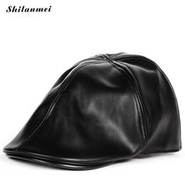 bfab68461f47a Invierno Otoño Pu de Cuero Artificial Sombreros de Boina Unisex Hombres  Mujeres Visera Plana Gorras 5 Colores Puede Ajustable Cap Hat Mujer