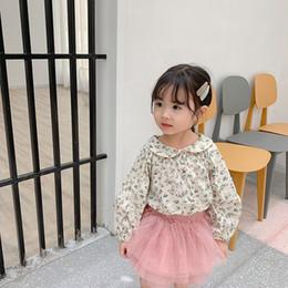 camicette floreali a maniche lunghe per bambini Sconti Camicette floreali in cotone per bambine della primavera autunno 1-5 anni per bambini Camicetta all-match per bambini a manica lunga