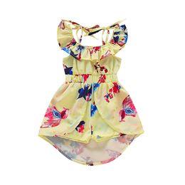 Девушки одеваются с плеча онлайн-Cute Kids Dresses For Girls Flower Print Jumpsuit Off Shoulder Princess Dress Kids Costume Children Dress Girls Wedding Dresses