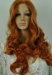 Dunkelorange perücken online-Perücke LL 002618 Hot Blonde Dark Orange Mix Frauen Pony Cosplay Perücke Langes Haar Volle Perücke